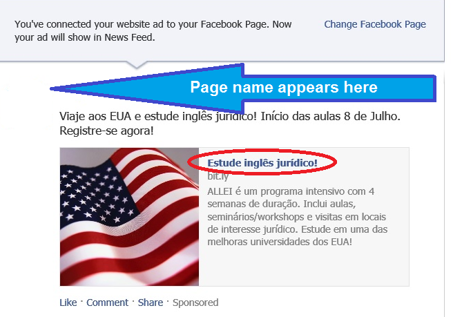 The most visible text in the News Feed ad is the page name. When clicked, it takes the user directly to the Facebook page.