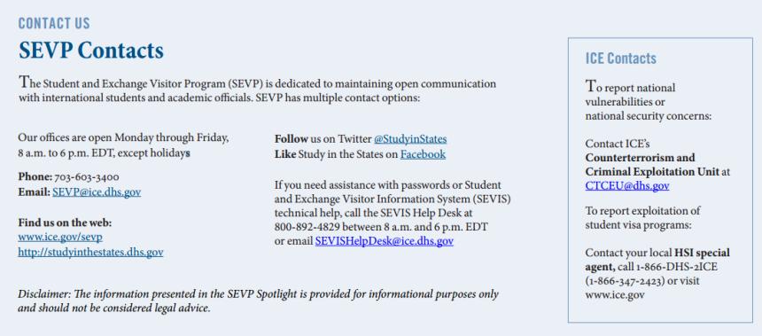 SEVP contact info